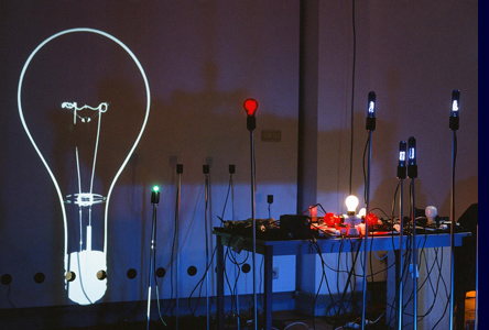 light bulb music installation view